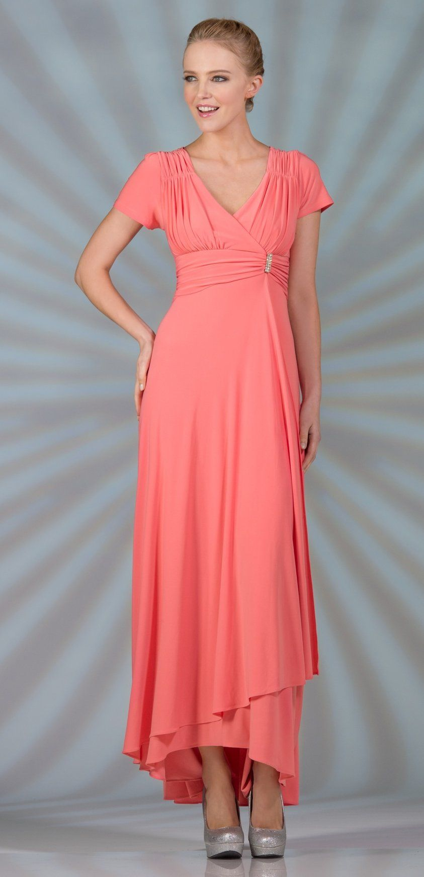 e40af3ab597 Tea Length Modest Coral Dress Short Sleeves V Neckline (6 Colors Available)