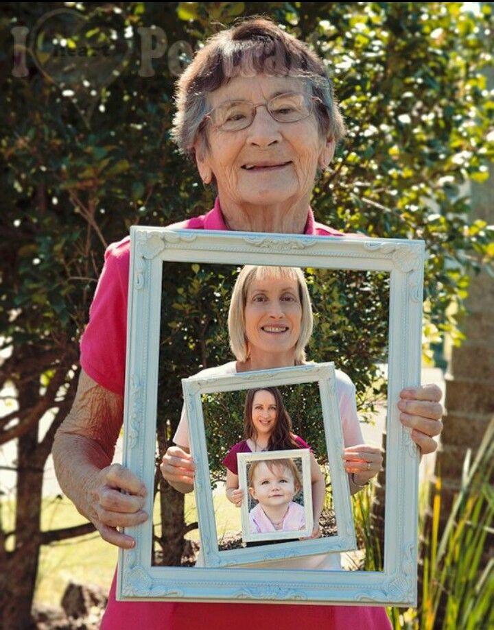 4 generations, great grandma, grandma, mother, daughter. Frame ...