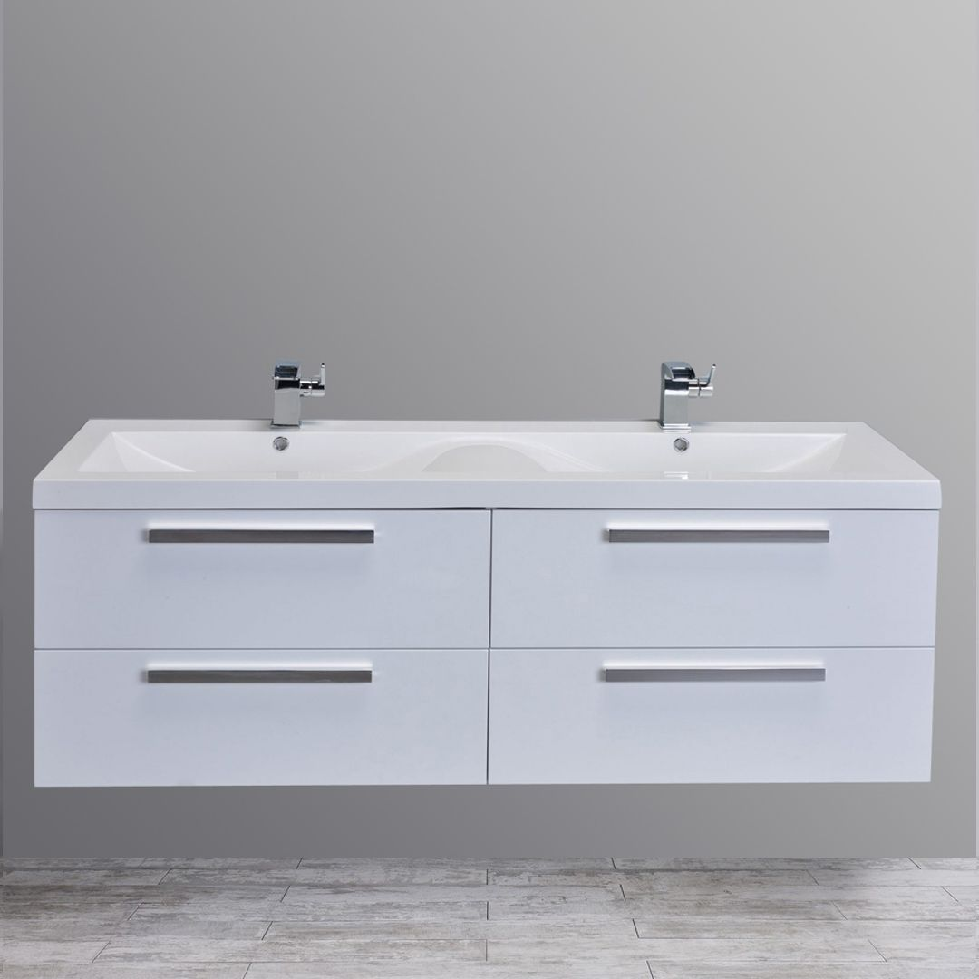 Eviva Surf® 57 Inch White Modern Bathroom Vanity With An Integrated White  Acrylic Double Sink