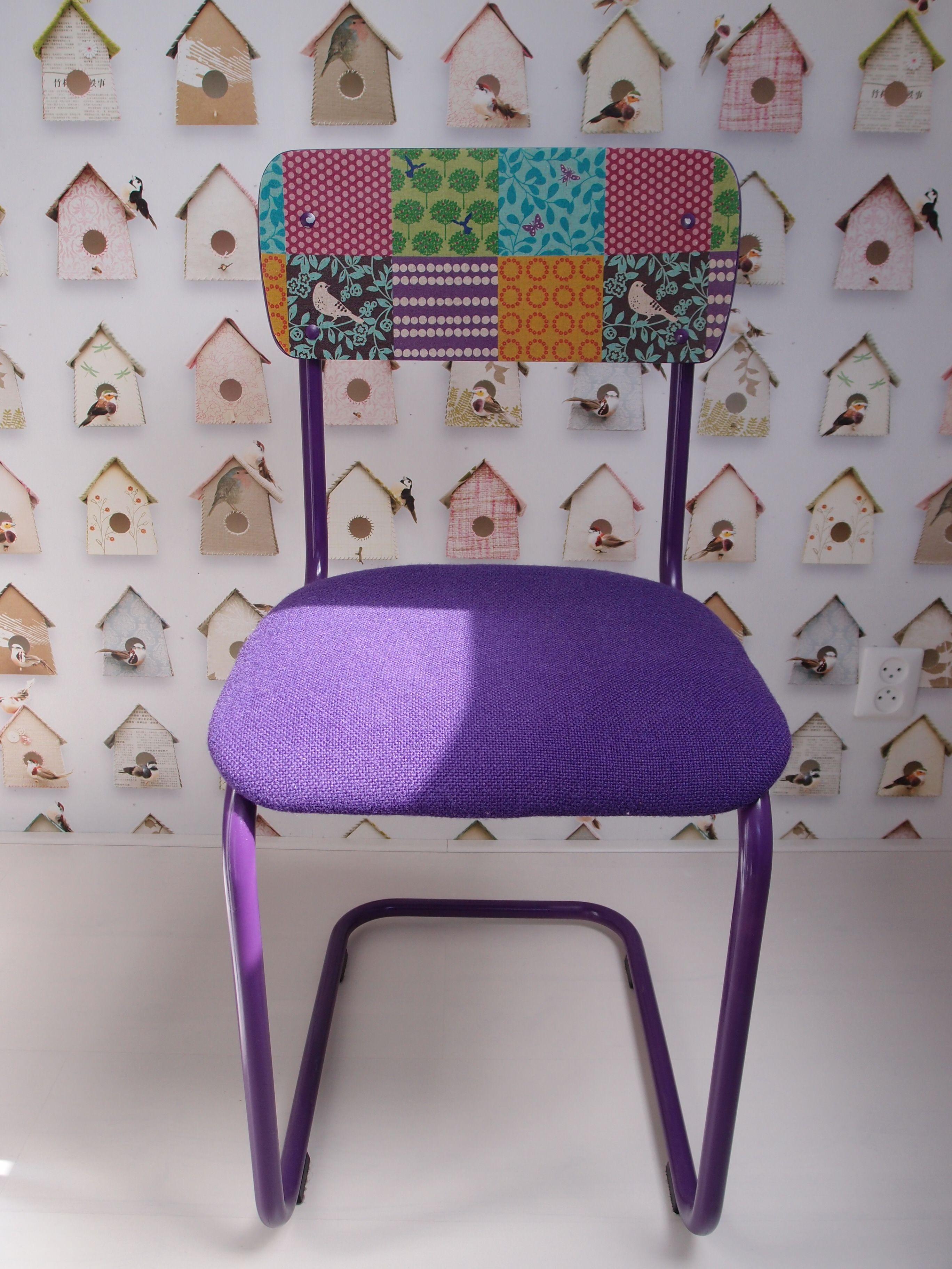 Eetkamerstoel paars ~ Een oude gispen kembo stoel gespoten in hema paars zitting