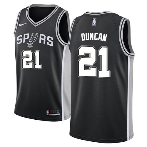 Nike Spurs  21 Tim Duncan Black NBA Swingman Icon Edition Jersey ... fba83fba9