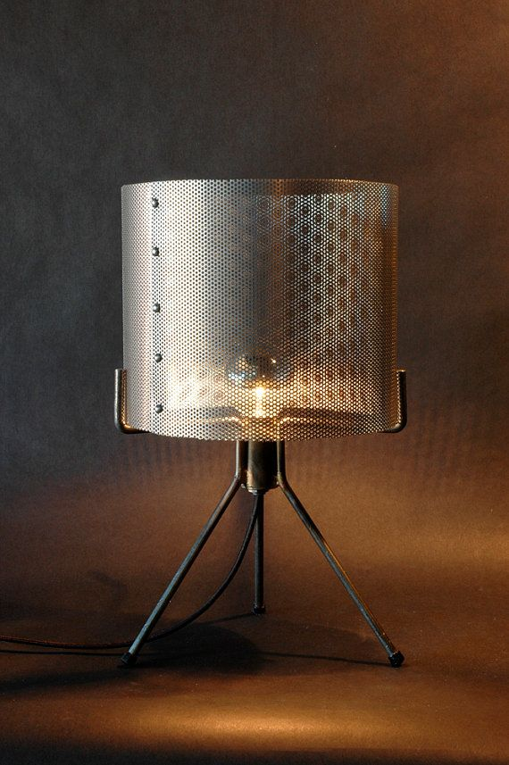 Industrial perforated metal drum shade table lamp