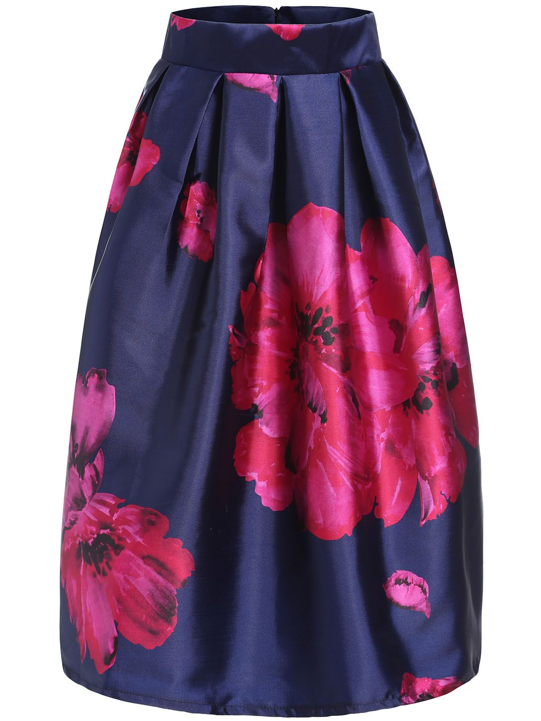 0cd5c205f Blue+Apricot+Plum+Flower+Print+Flare+Skirt+23.67 | My Style in 2019 ...