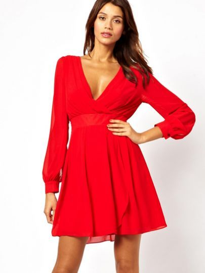 Red Long Dress V Neck Backless Dress pictures