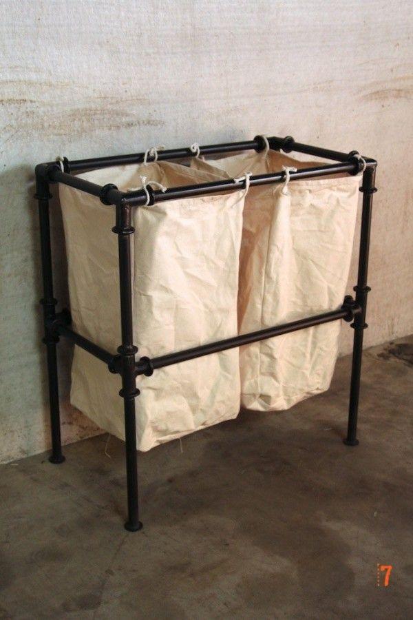 Panier à linge de style industriel - Meuble industriel salle de bain - meuble salle de bain panier a linge