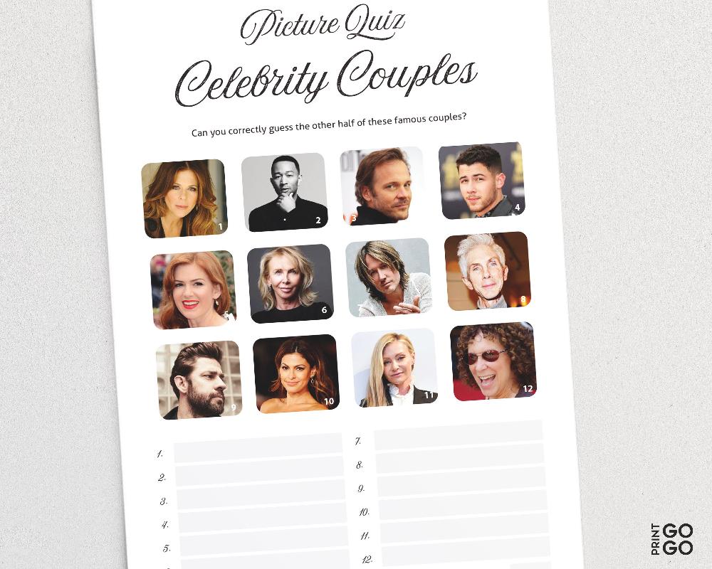 Picture Quiz Celebrity Couples Pub Quiz Picture Round