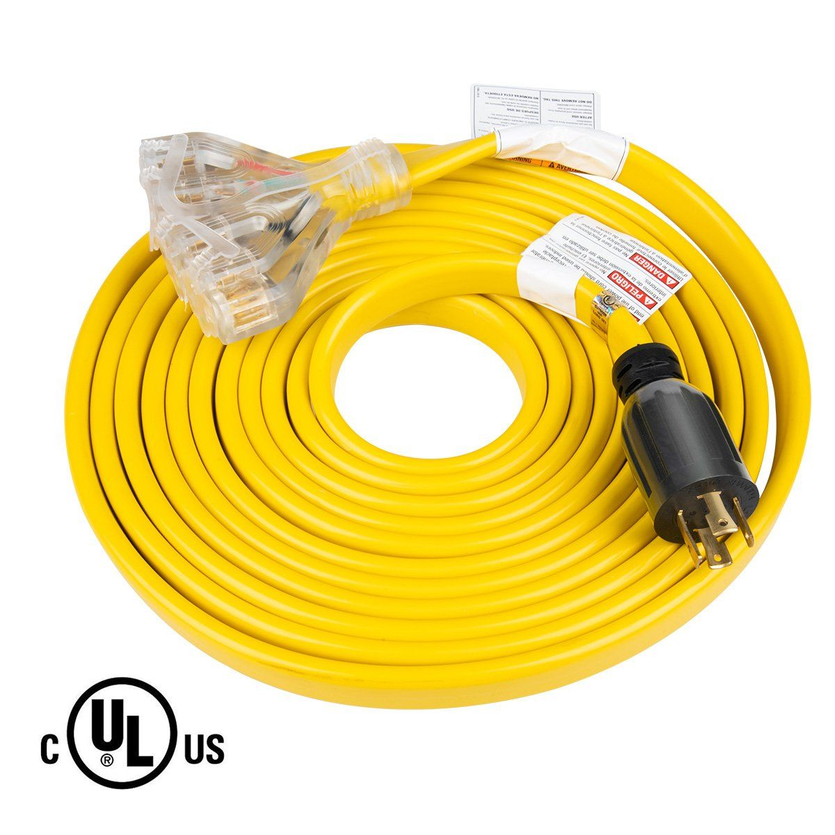 25 Feet Heavy Duty Generator Extension Cord Generator Locking Cord Nema L14 30p To Four 5 20r 4 Prong 10 Gauge New Design Flat Extension Cord Heavy Duty Ebay