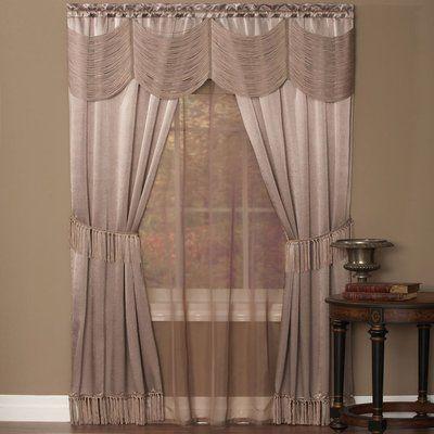 Window Valance European Swag Embroidery Curtain Flocked Drape Rod Pocket 1 Piece