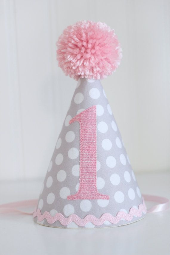 Pink And Gray Polka Dot Fabric Party Hat 1st Birthday Cake Smash Photo Prop By PaisleyHandmade On Etsy