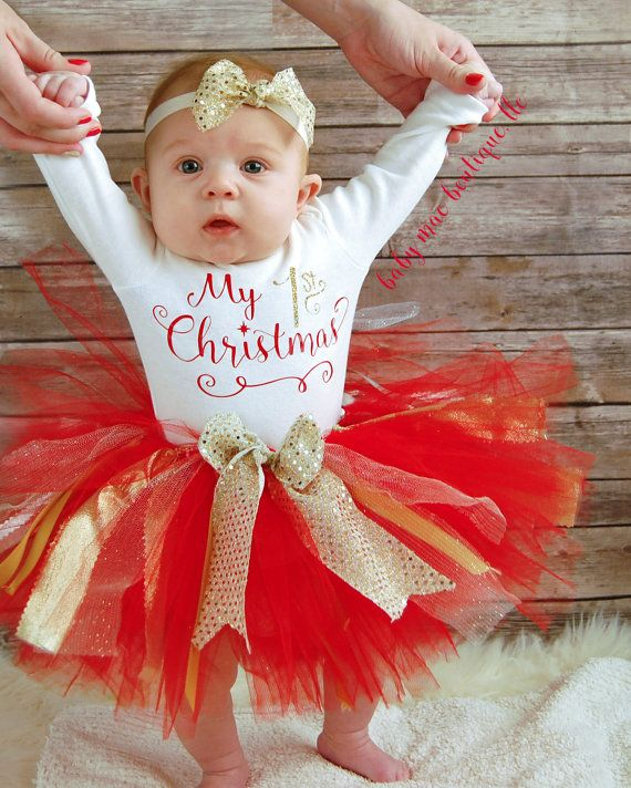 My First Christmas Baby Girl Christmas Outfit by BabyMaeBoutique