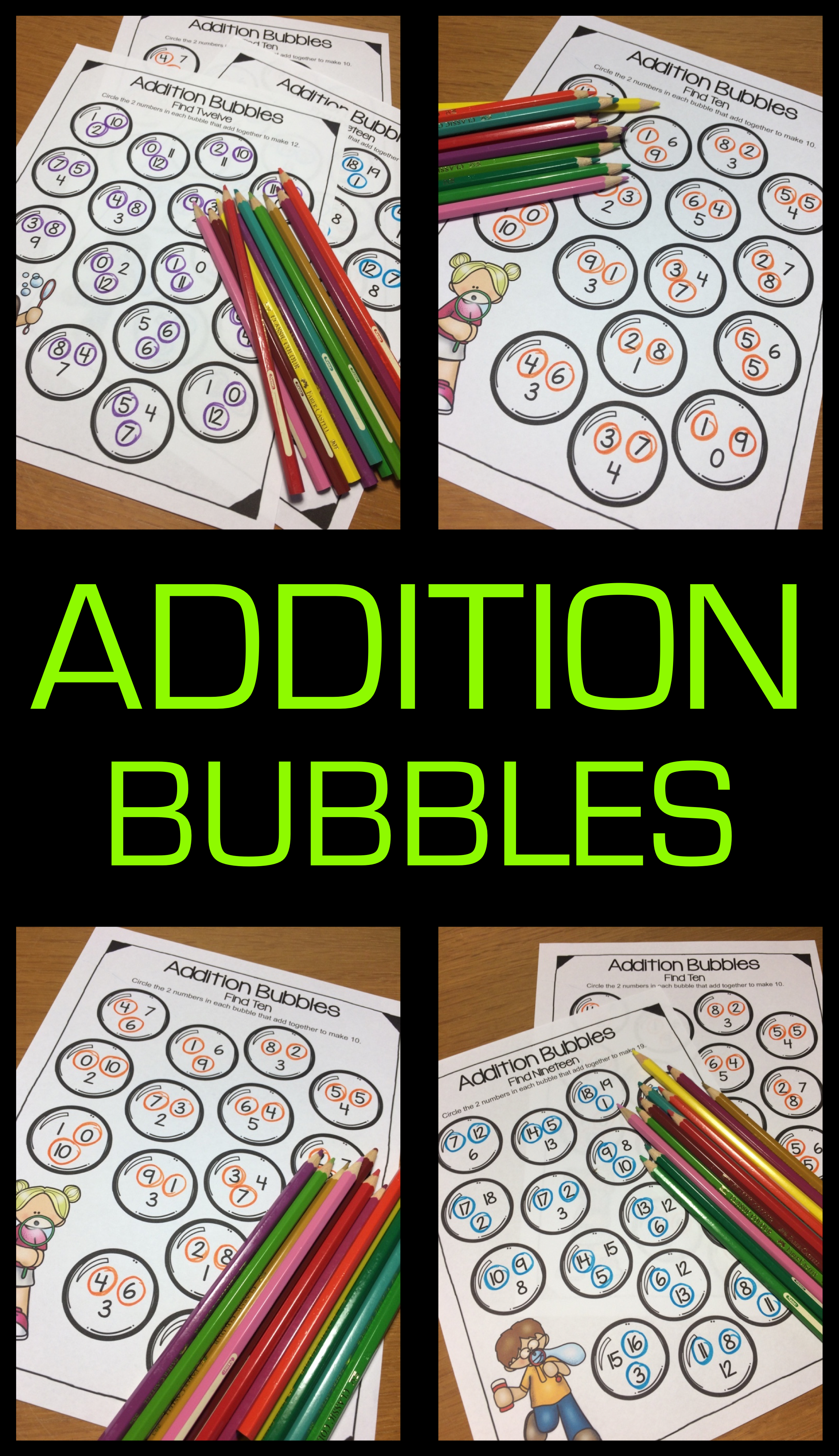 Addition Bubbles Addition Worksheets Within 20 For Fact