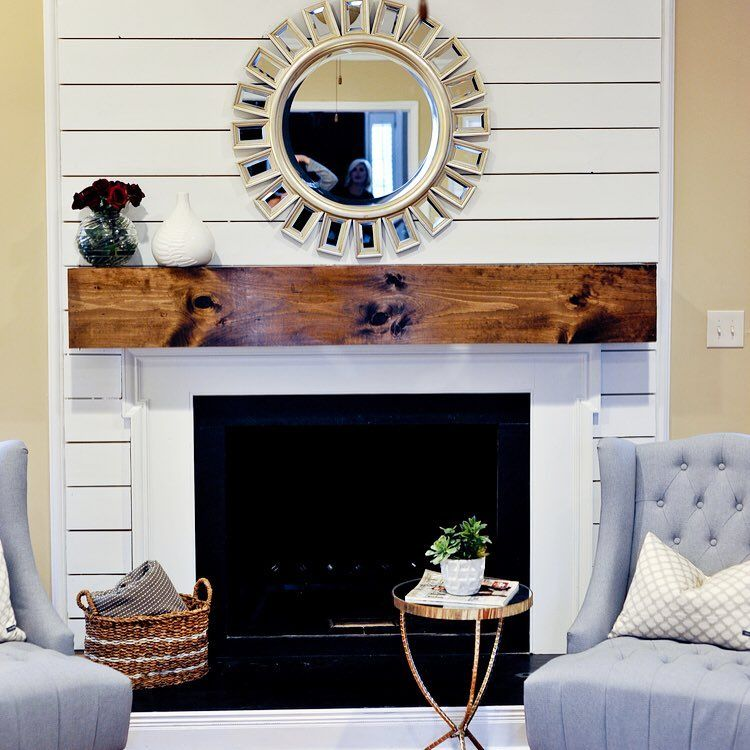 Mimosa design co on instagram our first post shiplap for Tongue and groove fireplace