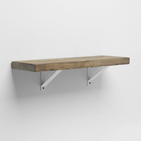 reclaimed wood shelf white basic bracket 2 39 the. Black Bedroom Furniture Sets. Home Design Ideas