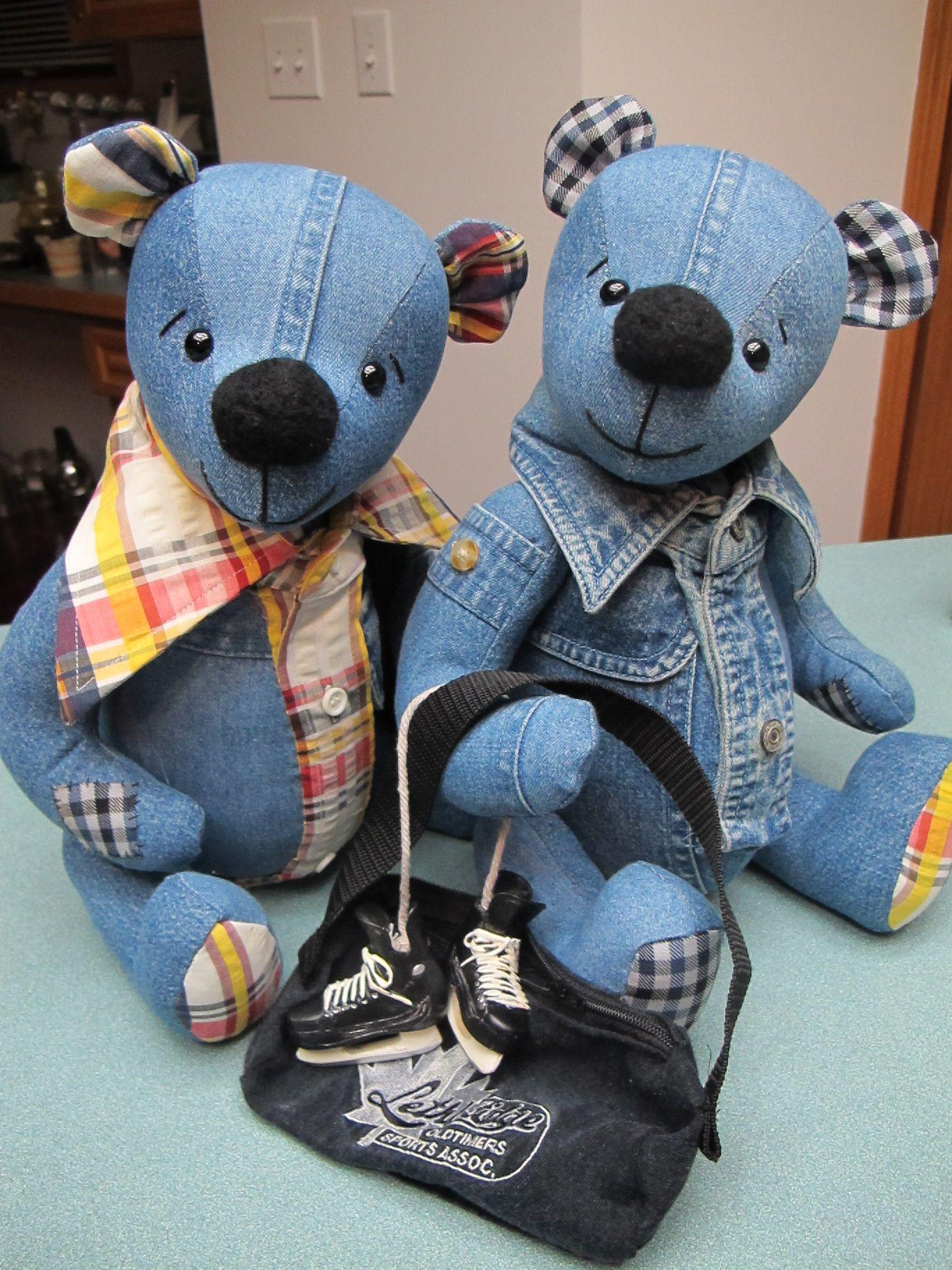 Denim teddy bears. :o) | Dolls | Pinterest | Jeans recycling, Plüsch ...