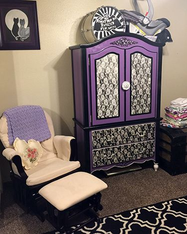 Custom Painted Baby Armoire For A Baby Girl Nursery.
