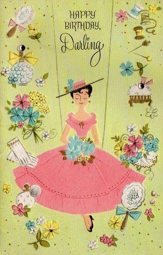 Vintage Little Lady Birthday Card
