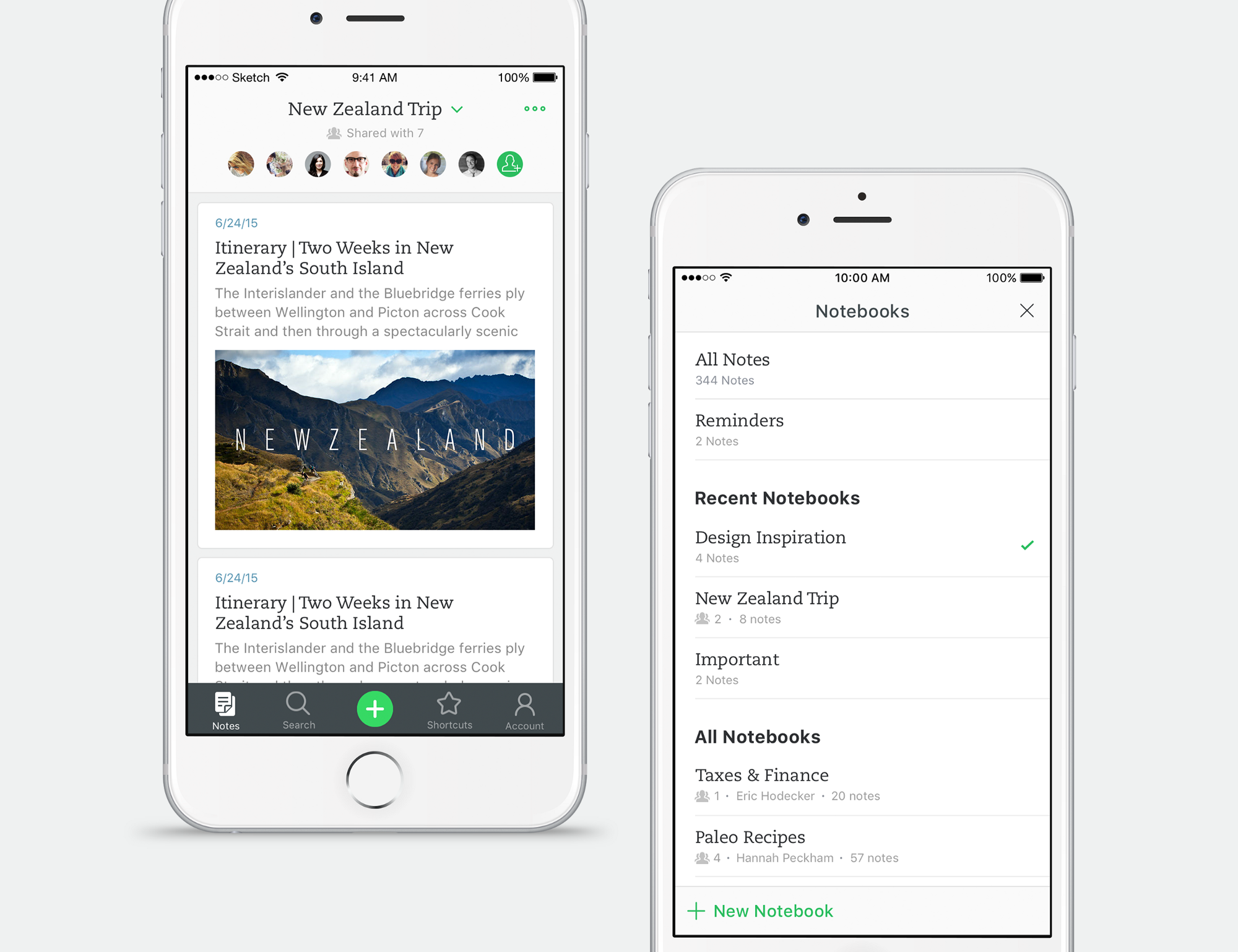 Redesigning Evernote for iOS Notebook design, Evernote