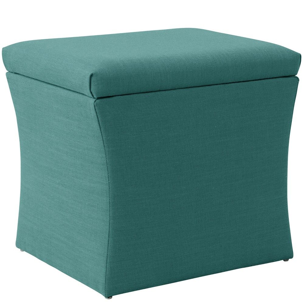 Enjoyable Layla Storage Ottoman Teal Linen Cloth Co Products Andrewgaddart Wooden Chair Designs For Living Room Andrewgaddartcom