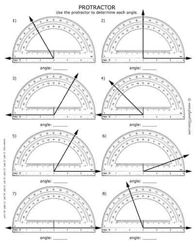 How To Use A Protractor Free Worksheet With Answer Key Black White