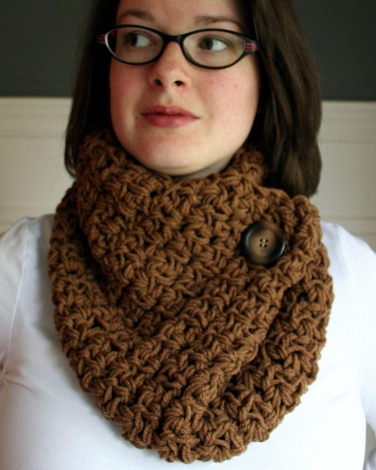 Crochet scarves crocheted cowl neck scarf in mocha brown with crochet scarves crocheted cowl neck scarf in mocha brown with brown and tan button bankloansurffo Choice Image