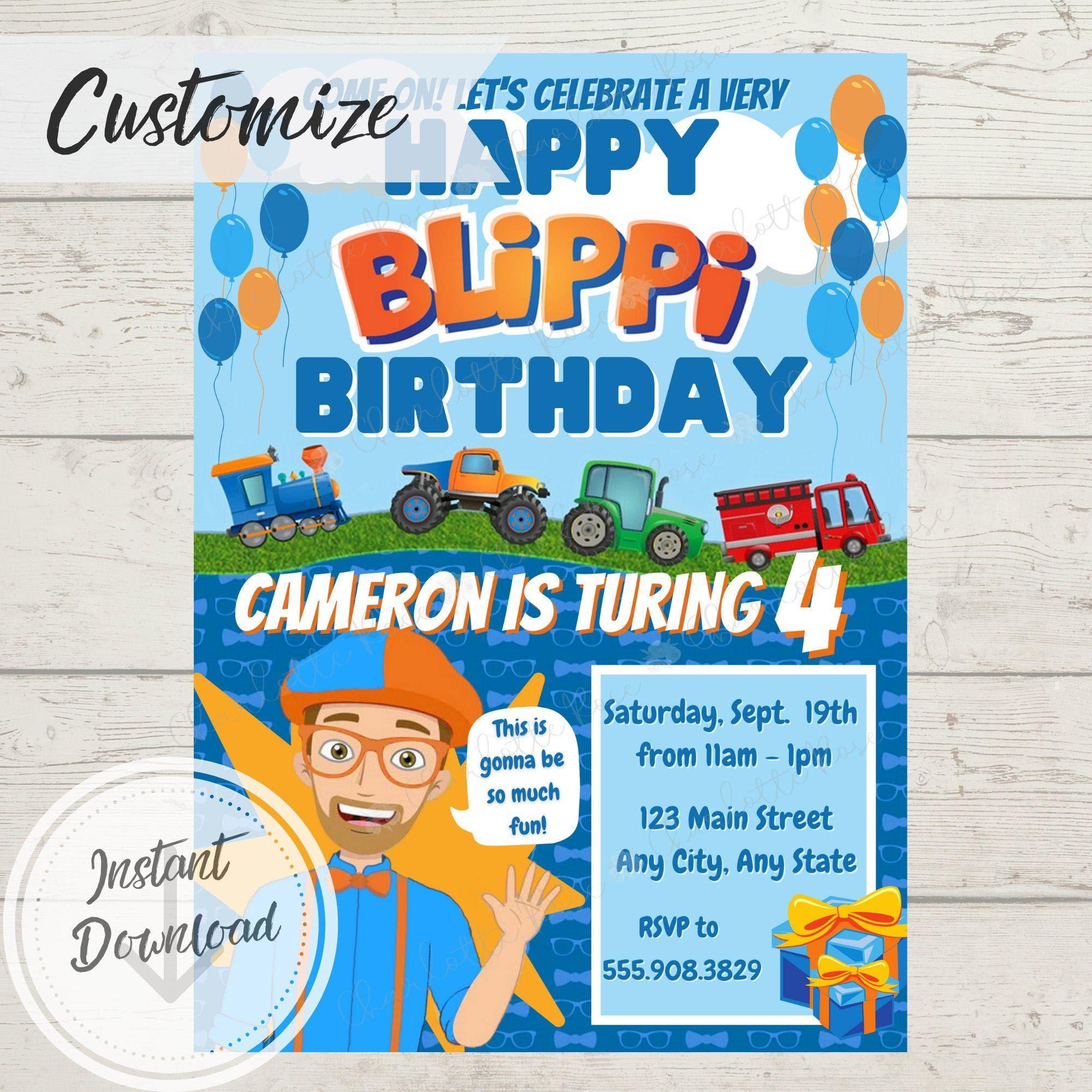 Blippi Birthday Party Invitation Instant Download Printable Etsy In 2021 Birthday Party Invitations Party Invitations 2nd Birthday Party Themes