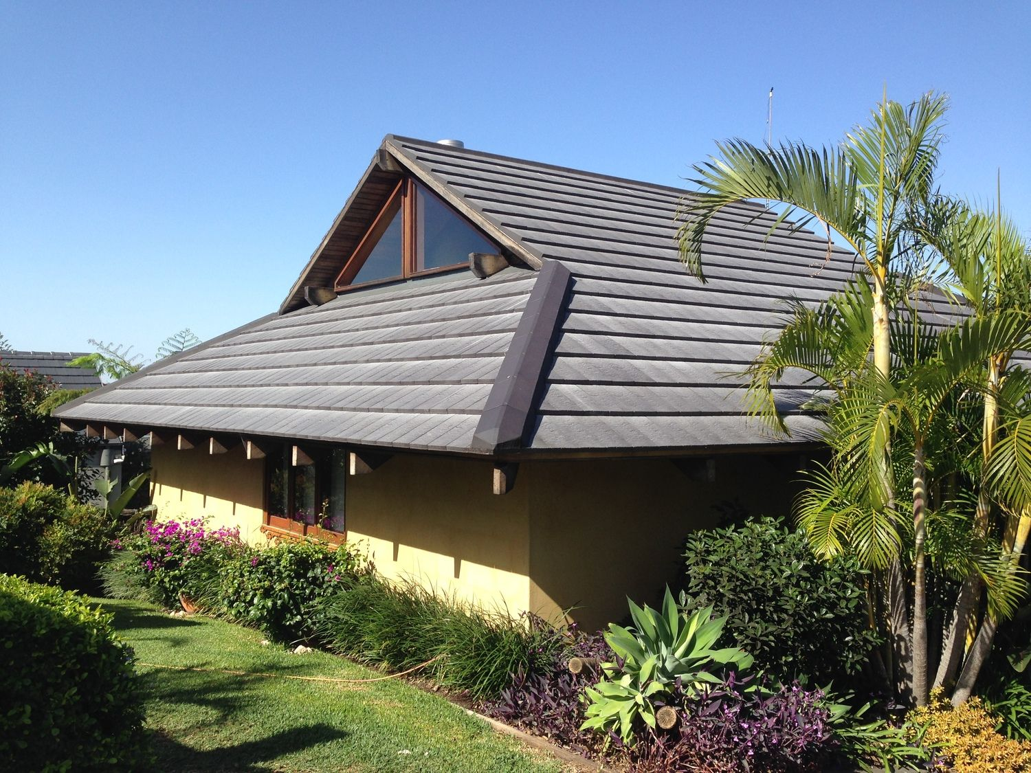 One Part Of The House After Finishing Installation Of Lohas Slate Roof Tiles Terracotta Roof Slate Roof Tiles Roof Tiles
