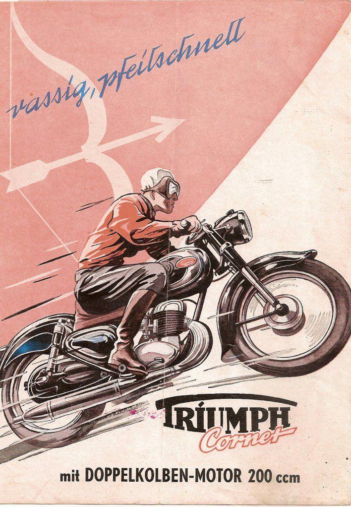 Triumph Twn 1949 To 1958 Motorbike Art Bike Poster Vintage Motorcycle Posters