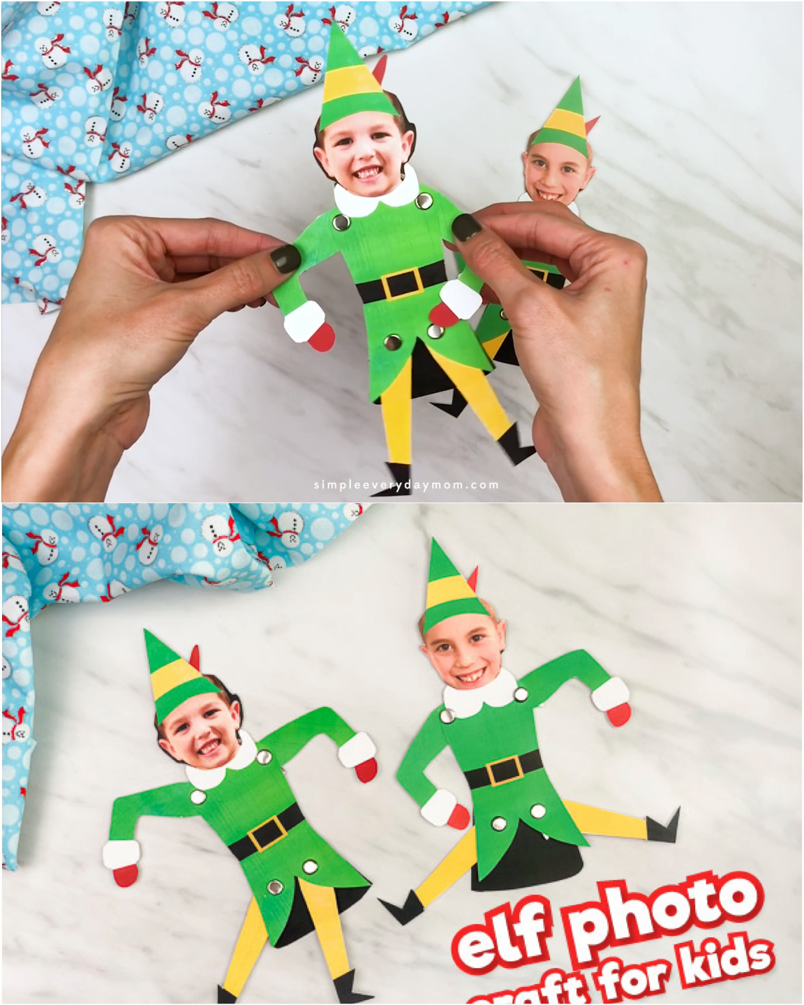 Turn your kids into Buddy the Elf with this simple paper craft for kids! It's a fun Christmas activity the whole family will love. Just download the free printable template and you're set!  #simpleeverydaymom #kidscrafts #kidsactivities #elfcrafts #christmascrafts #xmascrafts