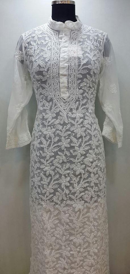 bf829e6bcab Lucknowi Chikan Hand Embroidered Kurti White on White Faux Georgette  31.77