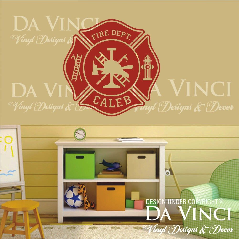 Firefighter Fire department Emblem Personalized Custom Name Vinyl ...
