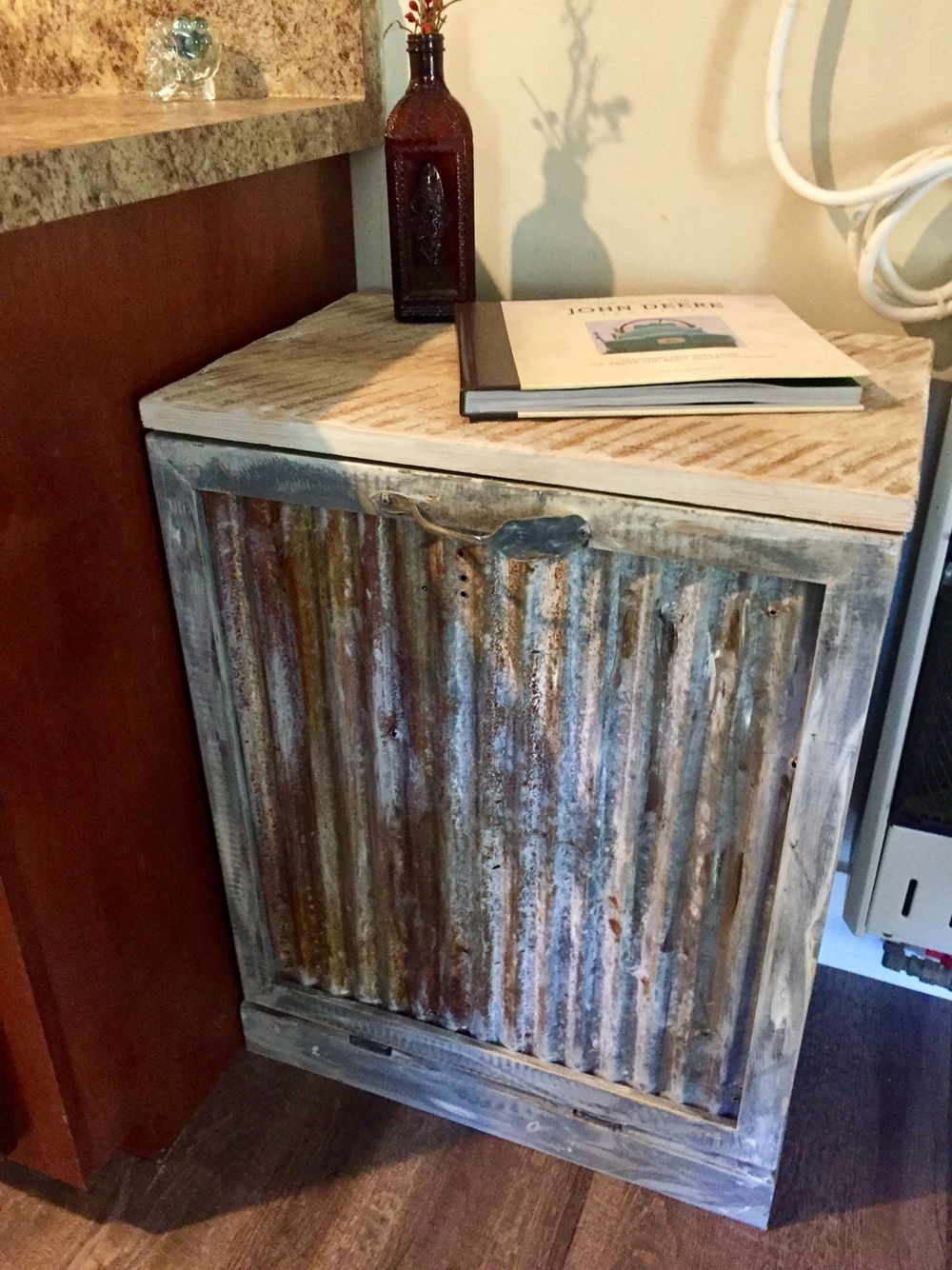 rustic kitchen garbage can flip down cabinet reclaimed tin and rh pinterest ca