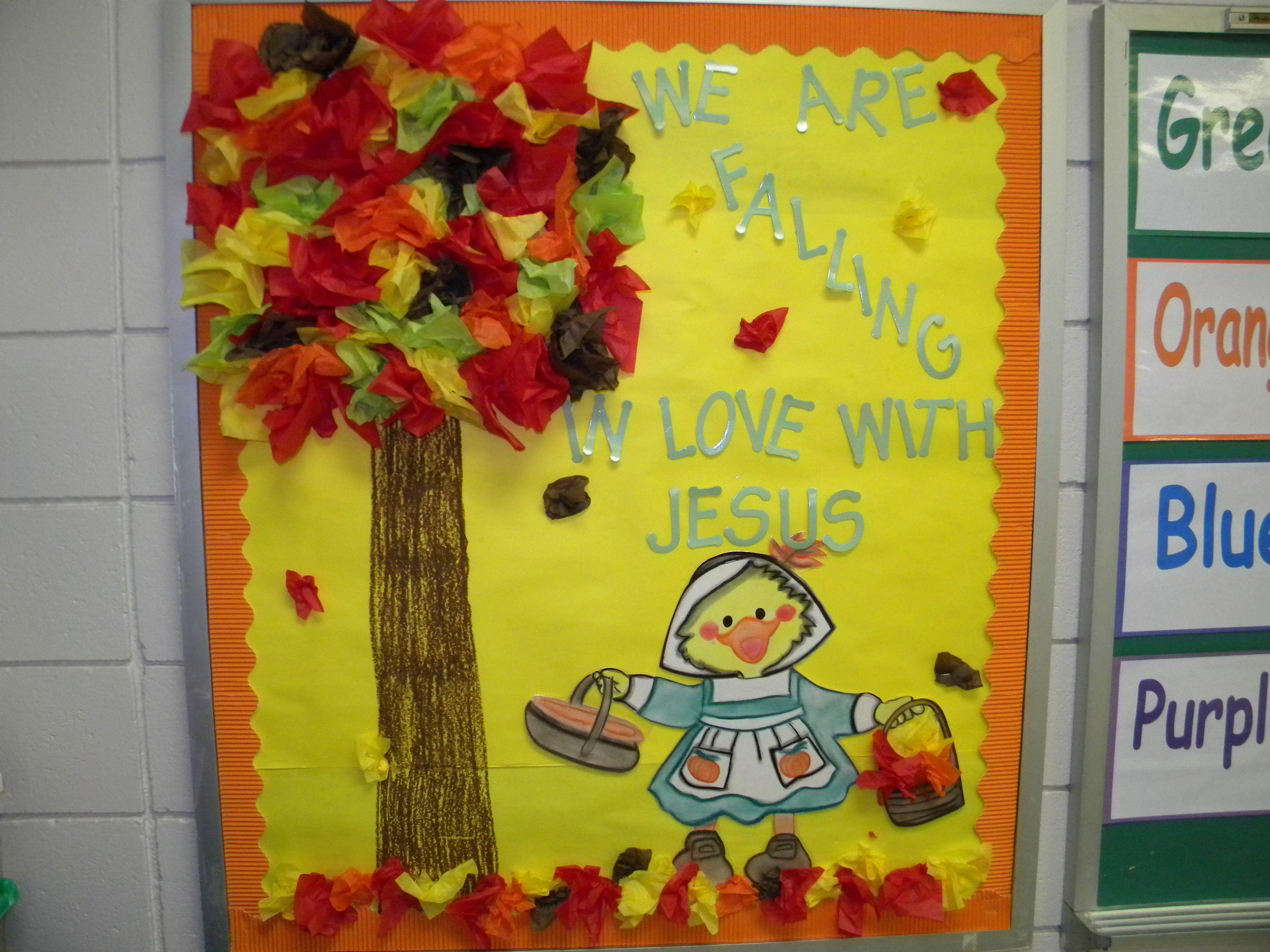 Fall Bulletin Board Idea Tissue Paper Creates A 3d
