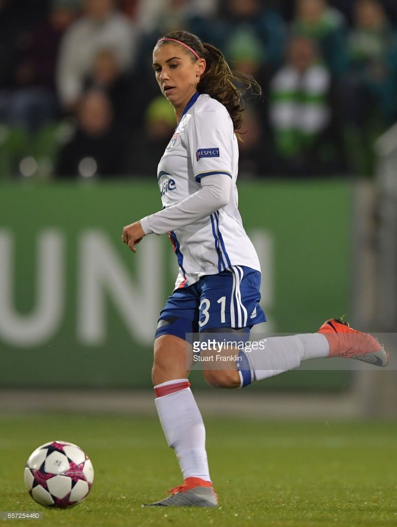 8028dfcd4 Alex Morgan of Lyon in action during the UEFA Women s Champions League  Quater Final first leg match between VfL Wolfsburg and Olympique Lyon at  AOK-Stadion ...