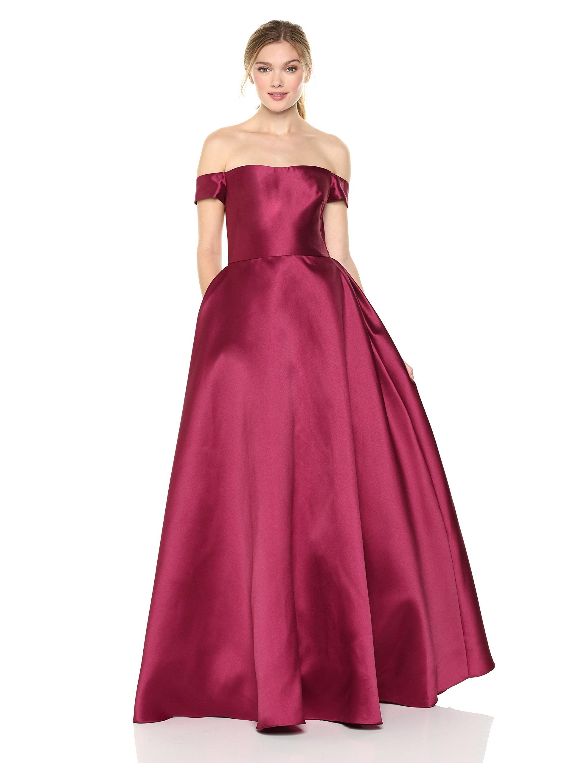 ML Monique Lhuillier Womens Off The Shoulder Ball Gown Raspberry 10 ...
