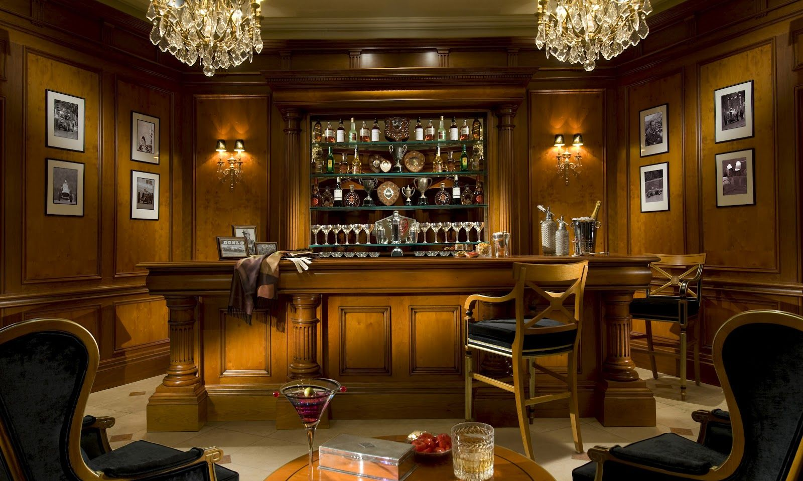 Luxury Home Bars Design | Yew Antique Luster Paneling And Bar, With Mirror  Detail.