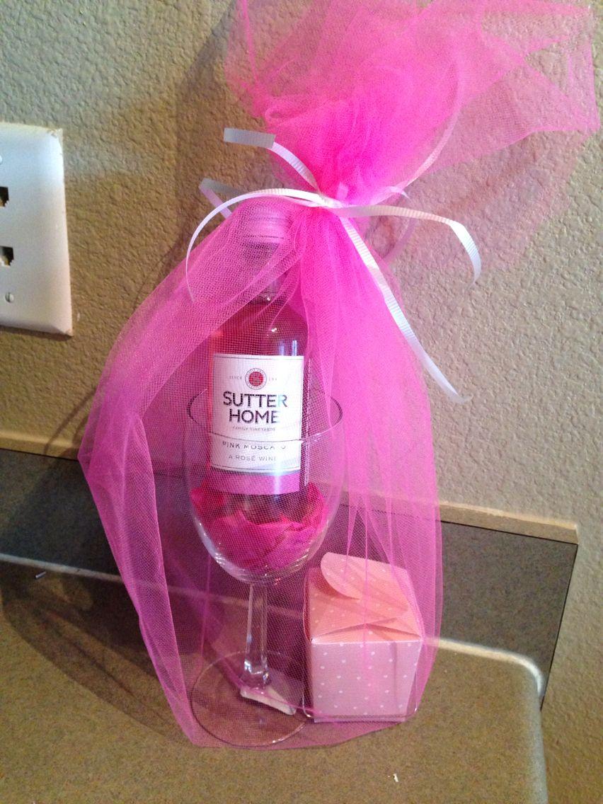 Bridal shower favor. $1 wine glass, mini wine bottle, box of ...