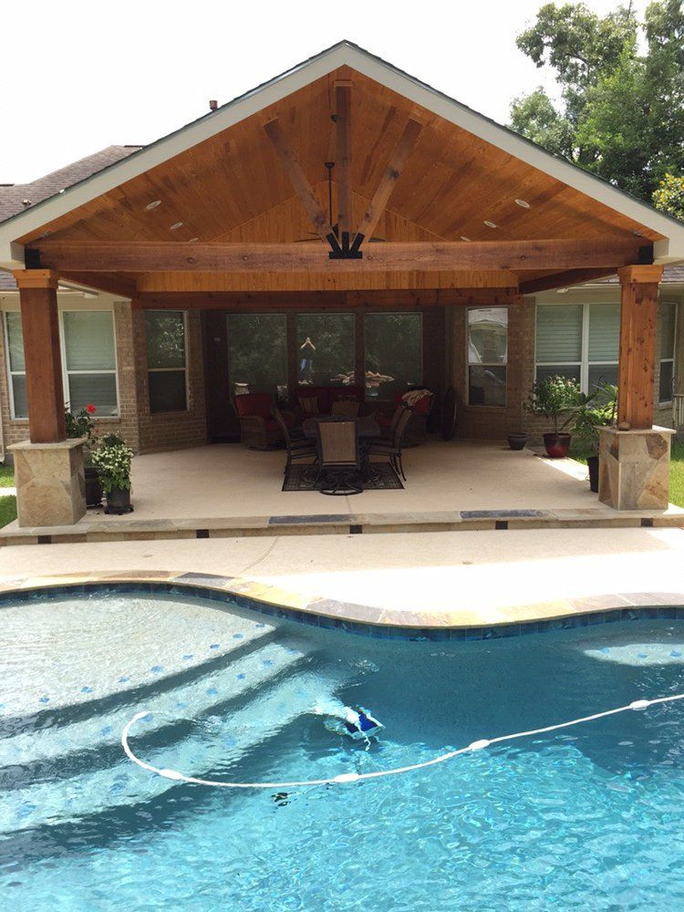 Backyard Paradise   Magnolia, TX, United States. Gable Roof Patio Cover  Attachedu2026
