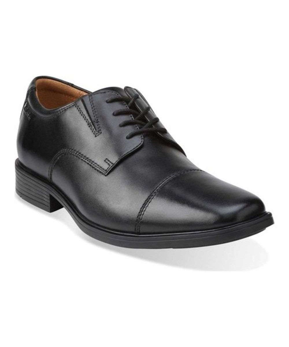Clarks Tilden Cap in Black Leather