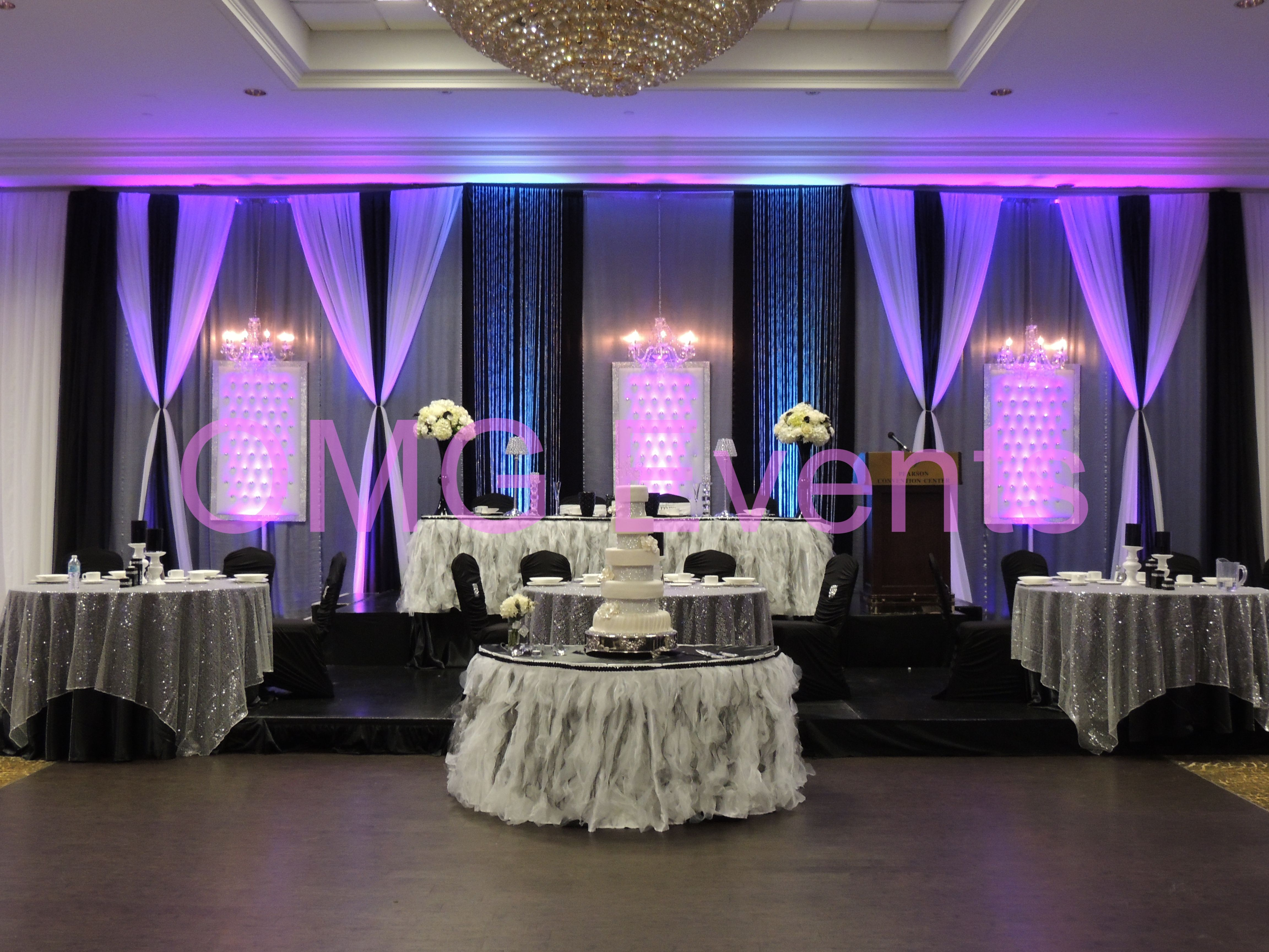 Black And White Glam Backdrop Head Table Set Up Two Tome Ruffled Skirting