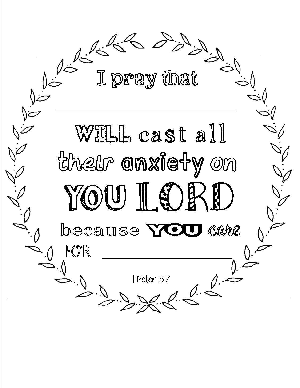 Scripture Coloring Page I Peter 5 7 With Place To Personalize Used At A Woman S Bible Study Luncheon Coloring Book Pages Womens Bible Study Coloring Books