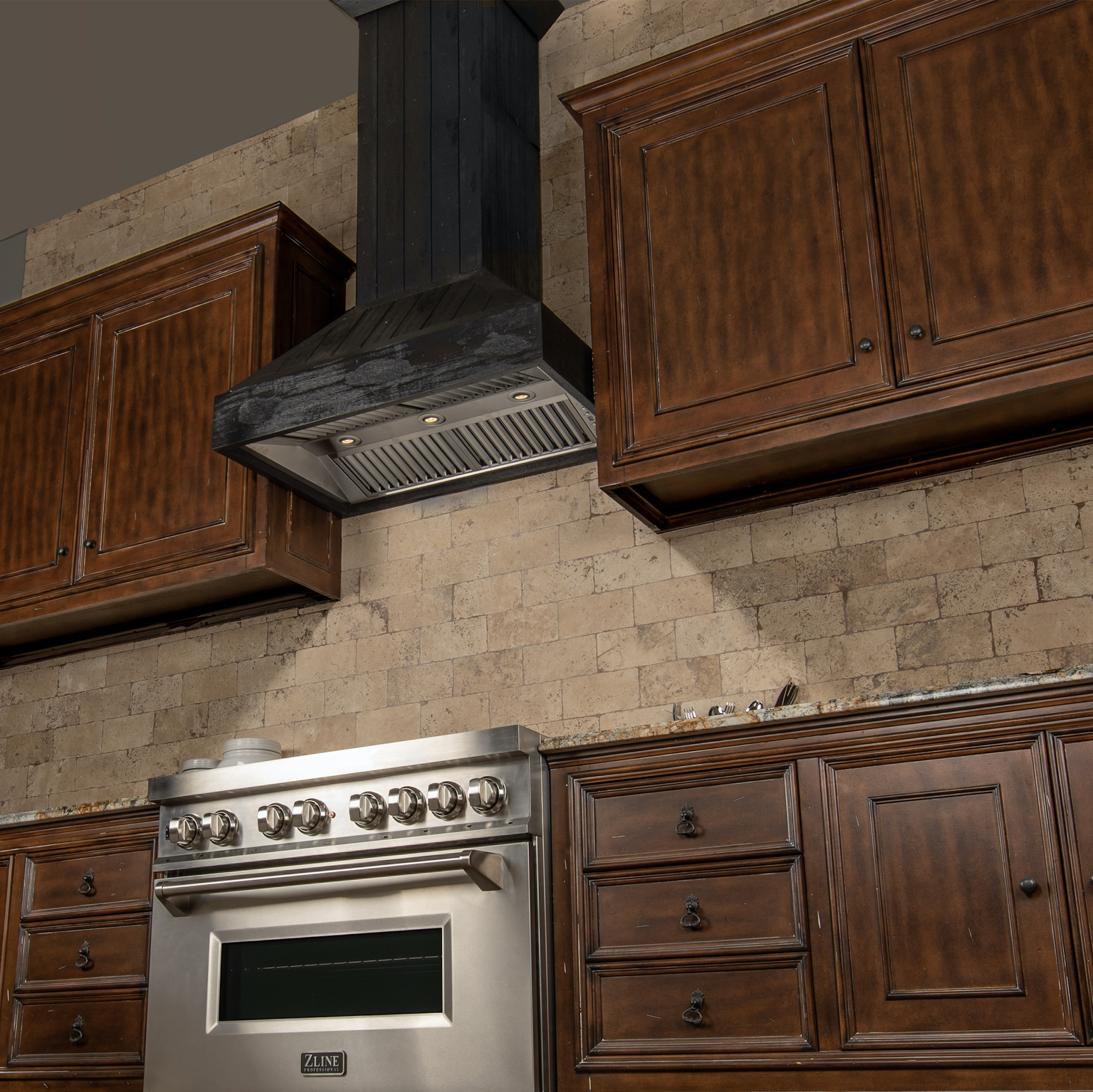 900 Rangehood Zline 30 In Shiplap Wooden Wall Mount Range Hood In Rustic Dark