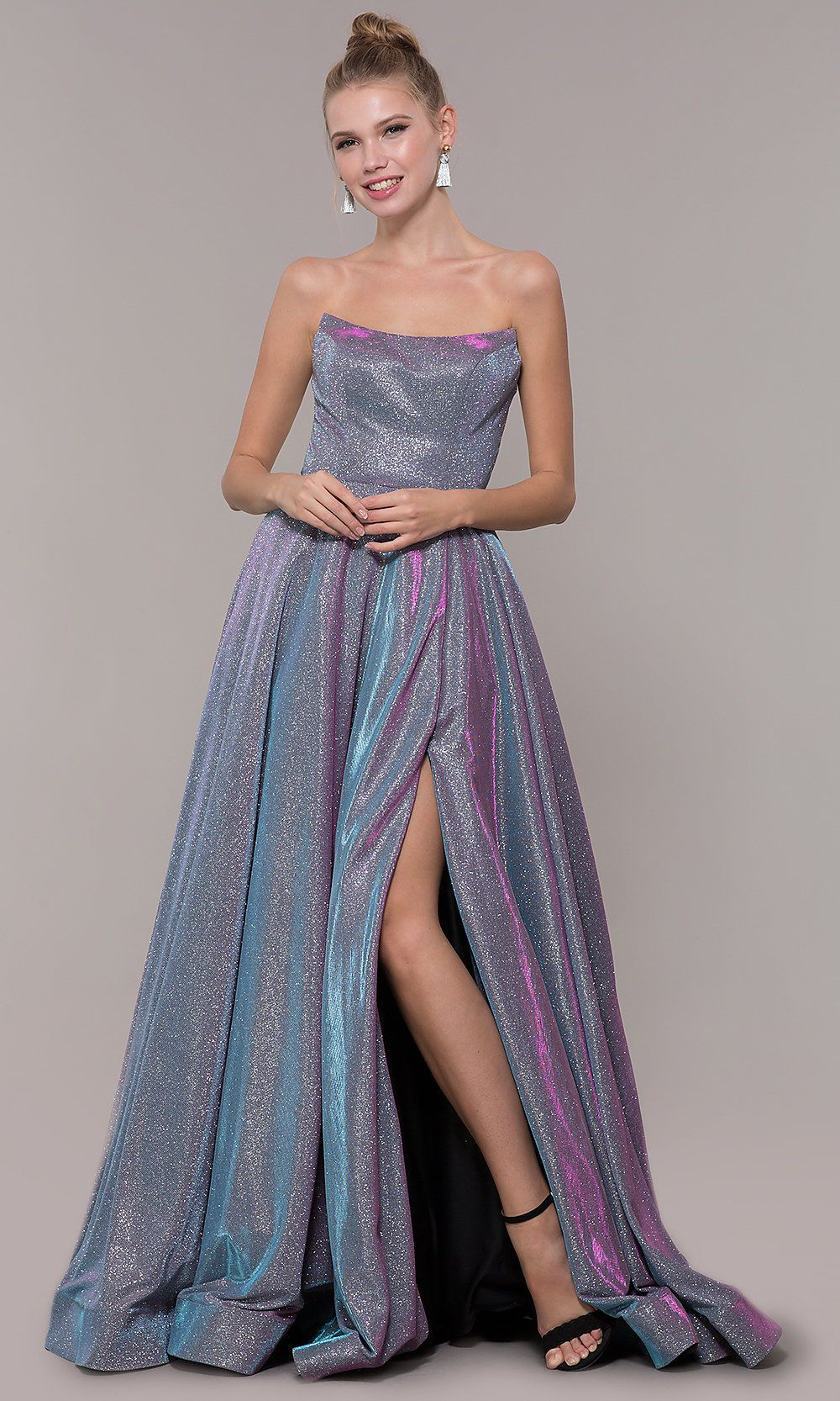 86f5be373a3d Long Strapless Iridescent Ballgown Style Prom Dress