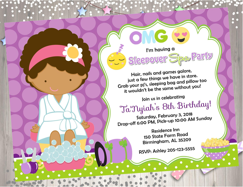 Emoji Sleepover Spa Party Invitation
