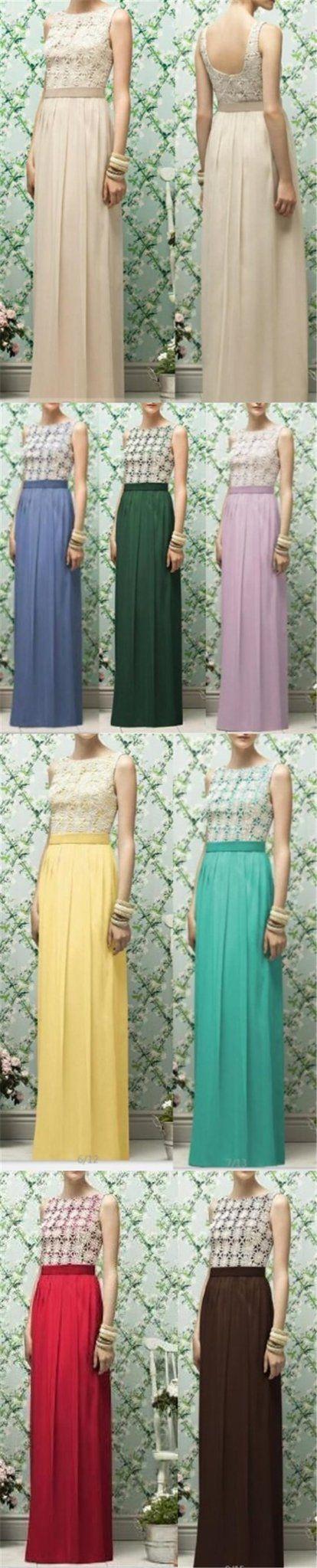 Long yellow chiffon cheap sleeveless lace top simple bridesmaid