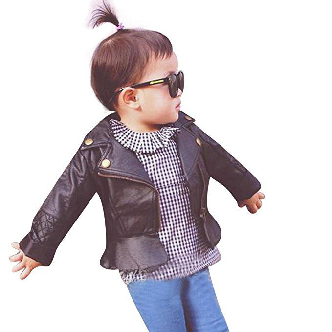 Yoyorule Baby Kids Infant Pu Leather Jacket Zipper Hooded Outwear Coats 12 Months Black Leather Jacket Zipper Leather Jacket Style Leather Jacket