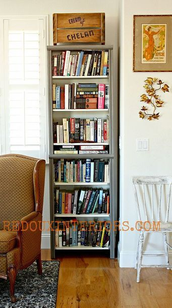 the best diy s upcycled furniture projects and tutorials by redoux, painted furniture, repurposing upcycling, Built in Bookshelves from Closet Organizers I show you how to make stock closet organizers look like expensive built ins