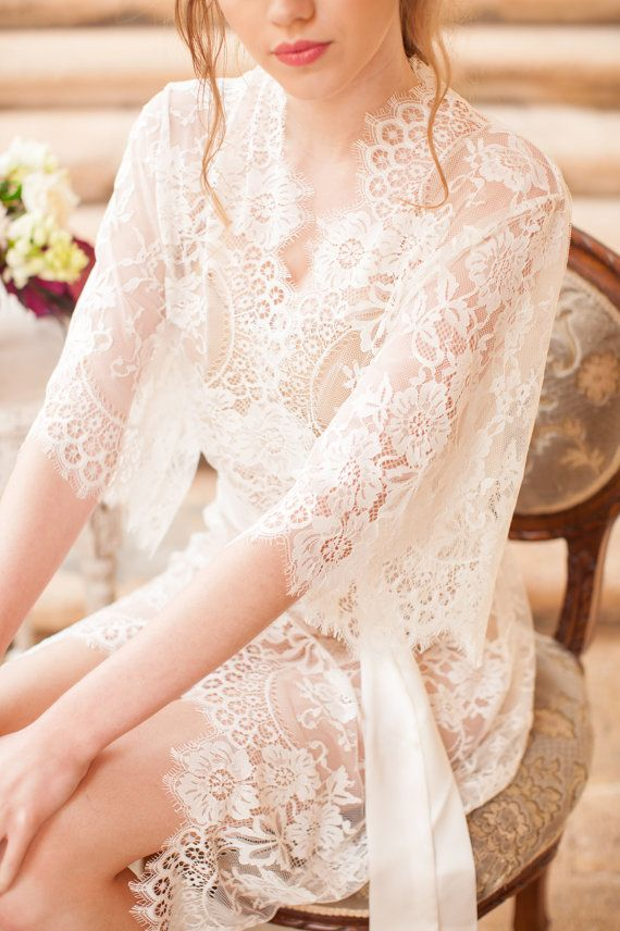 e40aad43ac4 Swan Queen lace kimono bridal robe in by girlwithseriousdream