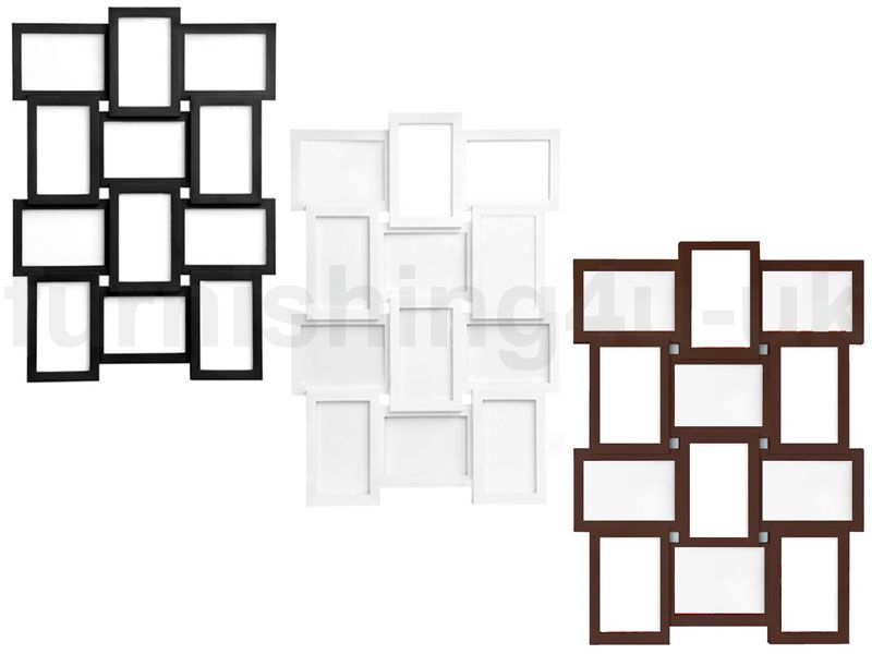 12 PHOTO MULTI PICTURE FRAME APERTURE COLLAGE WALL PLASTIC GLASS ...