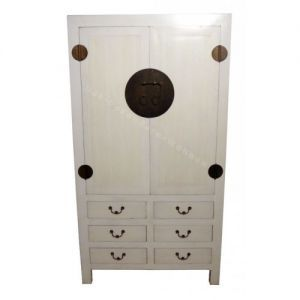 Armoire chinoise 6 tiroirs blanche | Bedrooms