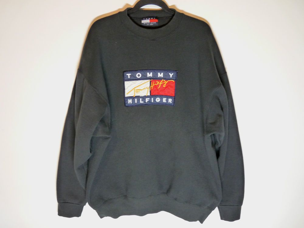 Vintage Tommy Hilfiger black sweater sweatshirt Color block big logo flag XXL